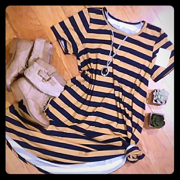 5207acf2621f LuLaRoe Dresses | Navy Tan Stripe Large Carly Swing Dress | Poshmark